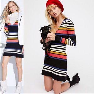 Free People Gidget striped Mini Sweater Dress Sz L